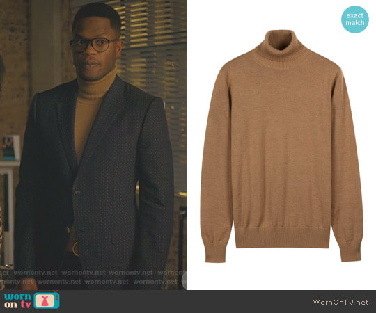 Camel Turtleneck by Suitsupply worn by Sam Adegoke on Dynasty