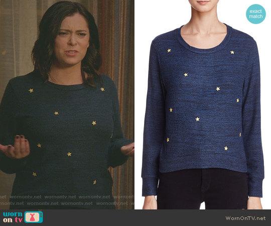 Star Patch Sweatshirt by Sundry worn by Rebecca Bunch (Rachel Bloom) on Crazy Ex-Girlfriend