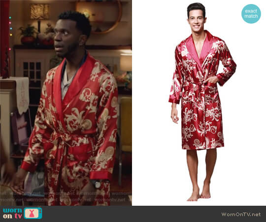 Paisley Loungewear Bathrobe Robe by Surenow worn by Jermaine Leforge (Bernard David Jones) on The Mayor