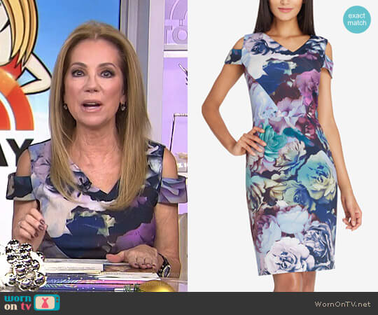 Cold-Shoulder Sheath Dress by Tahari ASL worn by Kathie Lee Gifford on Today