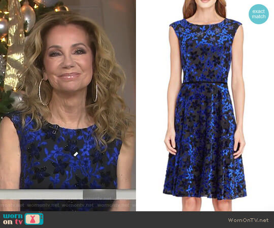 Flocked Velvet A-Line Dress by Tahari worn by Kathie Lee Gifford (Kathie Lee Gifford) on Today