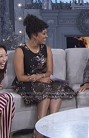 Tamera's black sequin flare dress on The Real