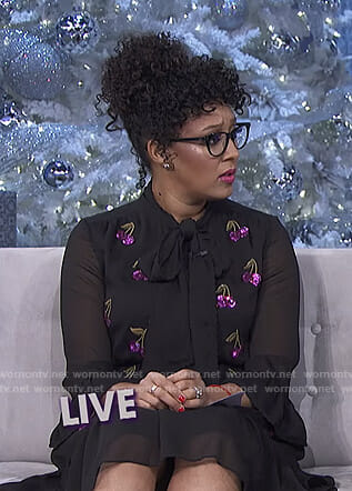 Tamera's black sequined cherry dress on The Real