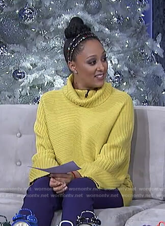 Tamera's yellow turtleneck top on The Real