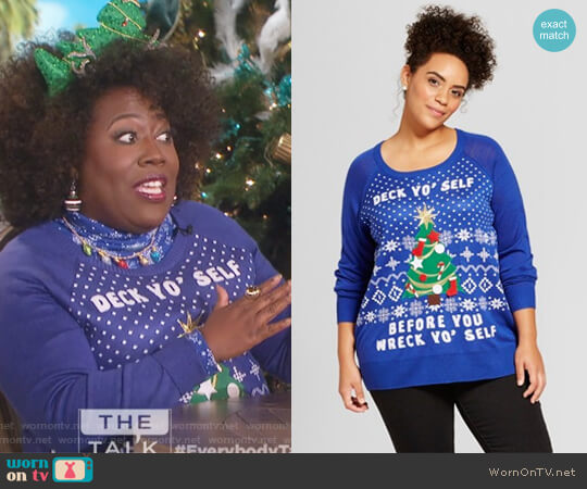 Deck Yo Self Long Sleeve Ugly Christmas Sweater by Well Worn worn by Sheryl Underwood  on The Talk