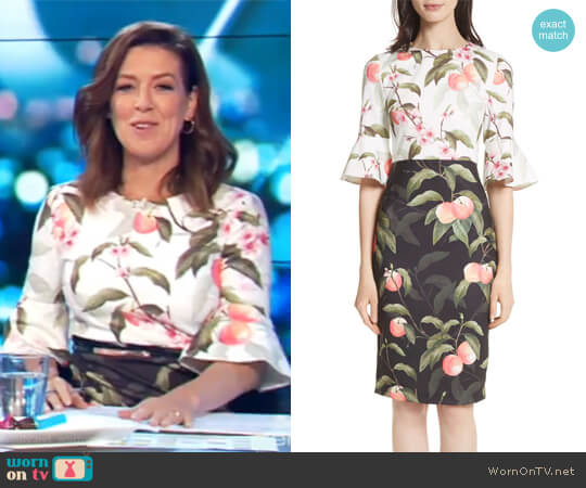 Peach Blossom Sheath Dress by Ted Baker London worn by Gorgi Coghlan on The Project