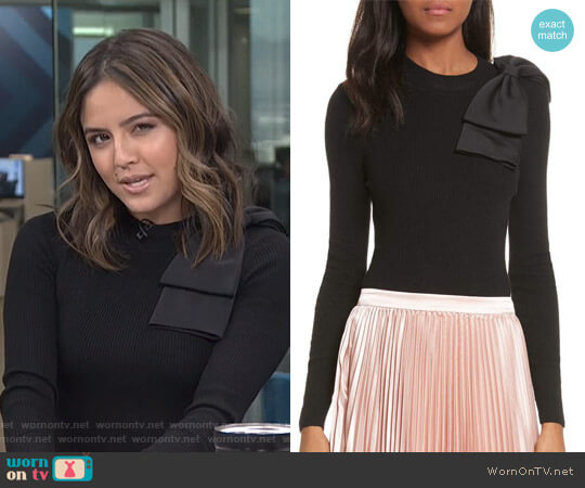 Nehru Bow Skinny Rib Knit Sweater by Ted Baker worn by Erin Lim  on E! News