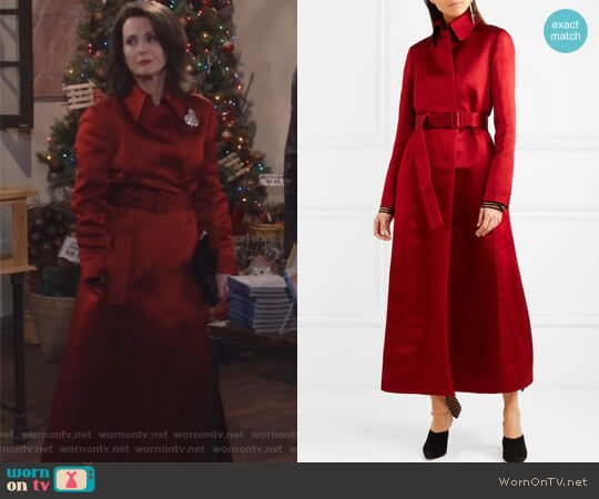 Neyton silk-satin coat by The Row worn by Karen Walker (Megan Mullally) on Will & Grace