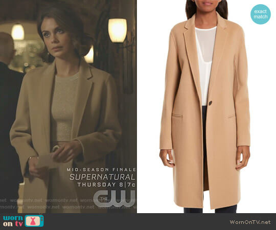 New Divide Wool & Cashmere Coat by Theory worn by Cristal Flores (Nathalie Kelley) on Dynasty