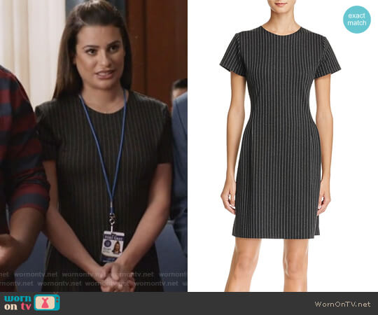 Pinstripe Sheath Dress by Theory worn by Lea Michele on The Mayor