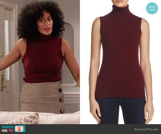 Theory Sleeveless Cashmere Turtleneck worn by Rainbow Johnson (Tracee Ellis Ross) on Blackish