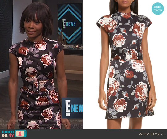 Mod Belted Floral Dress by Theory worn by Zuri Hall on E! News