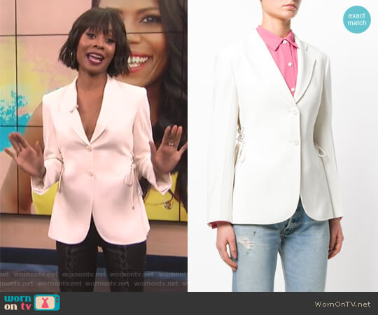 Lace-Up Detail Blazer by Theory worn by Zuri Hall on E! News
