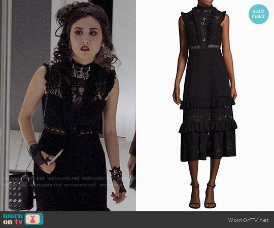 Three Floor Boulevard Ruffled Shift Dress worn by Lyrica Okano on Marvels Runaways