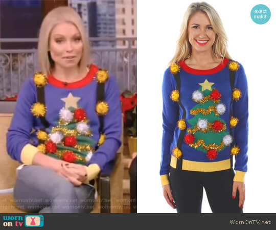 Christmas Tree Sweater with Suspenders by Tipsy Elves worn by Kelly Ripa on Live with Kelly & Ryan