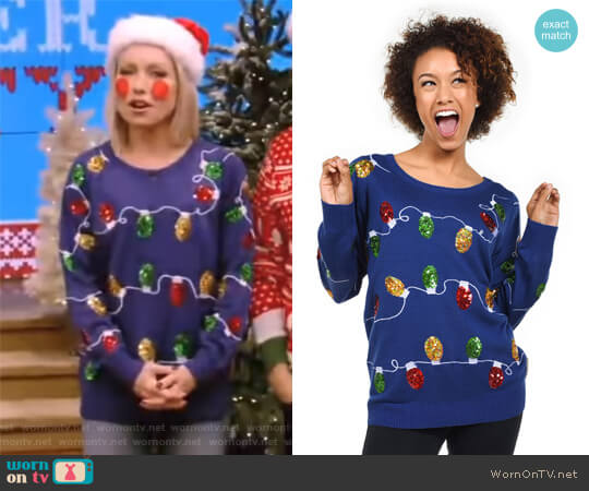 Christmas Lights Sweater by Tipsy Elves worn by Kelly Ripa on Live with Kelly & Ryan