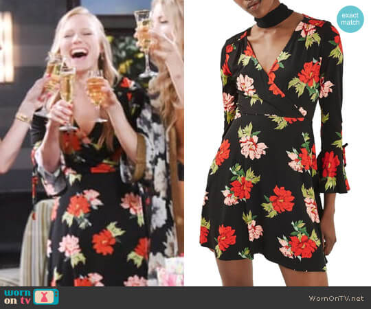Topshop Floral Flute Sleeve Skater Dress worn by Marci Miller on Days of our Lives