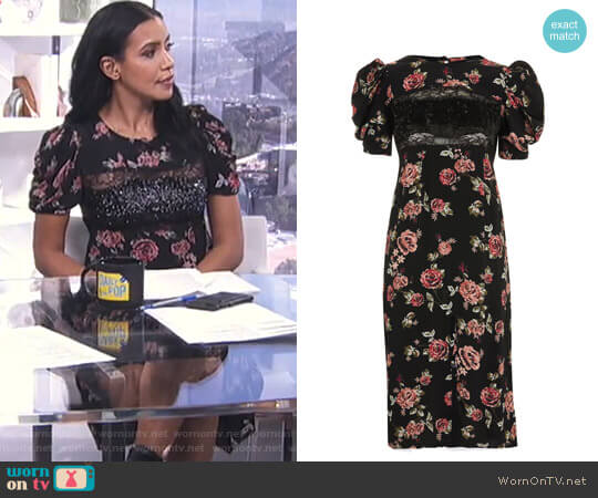 Sequin Floral Print Midi Shift Dress by Topshop worn by Julissa Bermudez on E! News