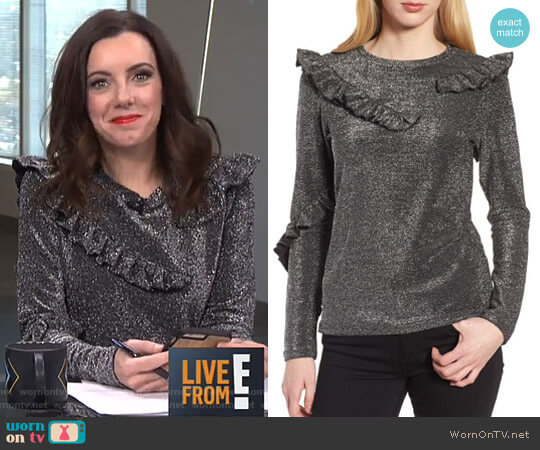 Ruffle Metallic Top by Trouvé worn by Melanie Bromley on E! News