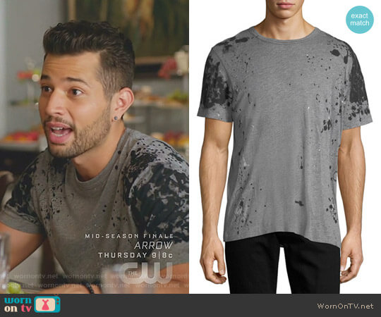 Paint-Splatter Cotton T-Shirt by True Religion worn by Sam Flores (Rafael de la Fuente) on Dynasty