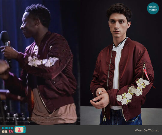 Alpha Industries X UO Rose Sleeve Bomber Jacket worn by Courtney Rose (Brandon Micheal Hall) on The Mayor