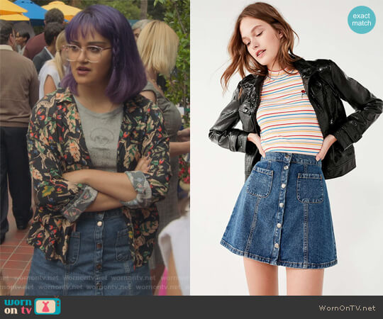 Denim Button-Front Skirt by BDG at Urban Outfitters worn by Ariela Barer on Marvels Runaways
