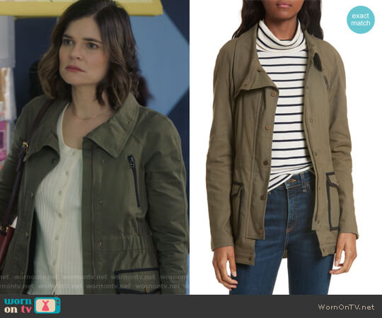 Army Jacket by Veronica Beard worn by Betsy Brandt on Life in Pieces