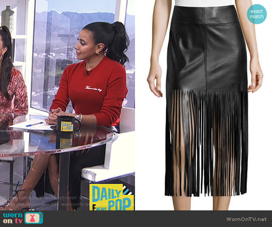 Faux Leather Fringe Skirt by Vakko worn by Julissa Bermudez on E! News