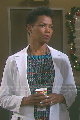 Valerie's blue knitted sheath dress on Days of our Lives