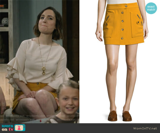 Monroe A-Line Button-Front Mini Skirt by Veronica Beard worn by Jennifer Short (Zoe Lister-Jones) on Life in Pieces
