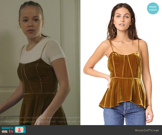 Sebastian Peplum Bustier Cami by Veronica Beard worn by Samantha Hughes (Holly Barrett) on Life in Pieces