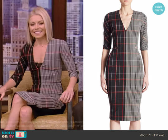 Checked Wool Dress by Victoria Beckham worn by Kelly Ripa on Live with Kelly & Ryan