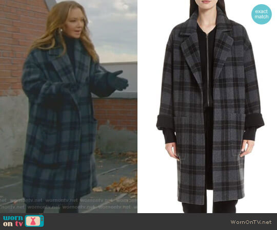 Plaid Car Coat by Vince worn by Vanessa Cellucci (Leah Remini) on Kevin Can Wait