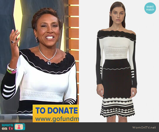 Striped Off Shoulder Knit Dress by Yigal Azrouël worn by Robin Roberts  on Good Morning America