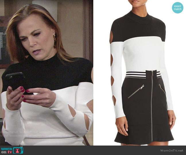 Yigal x Aqua Cutout Color-Block Sweater worn by Phyllis Newman (Gina Tognoni) on The Young & the Restless