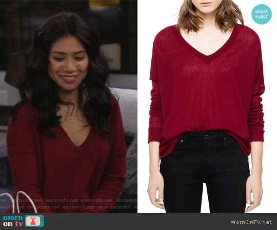 Brume Cashmere Sweater by Zadig and Voltaire worn by Eve Roberts (Liza Lapira) on 9JKL