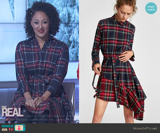 Checked and Ruffled Tunic by Zara worn by Tamera Mowry  on The Real