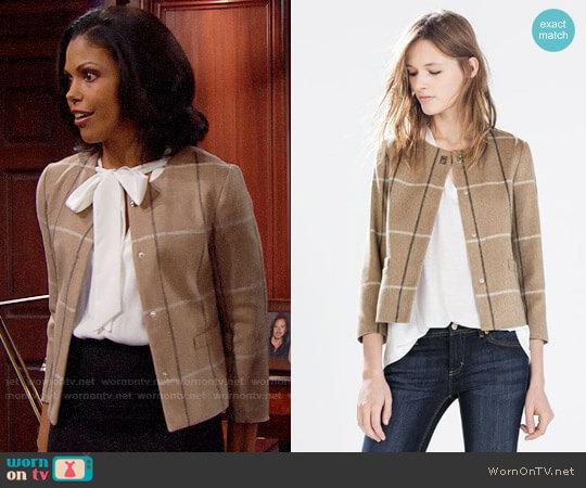 Zara Checked Wool Blazer With Collar Applique worn by Maya Avant (Karla Mosley) on The Bold & the Beautiful