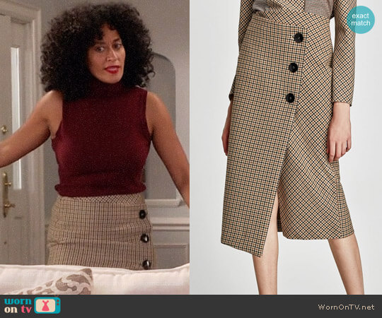 Zara Checked Wrap Style Midi Skirt  worn by Rainbow Johnson (Tracee Ellis Ross) on Blackish