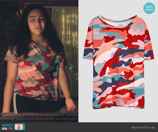Printed Top by Zara worn by Allegra Acosta on Marvels Runaways