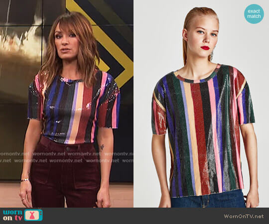 Sequinned T-Shirt by Zara worn by Catt Sadler on E! News