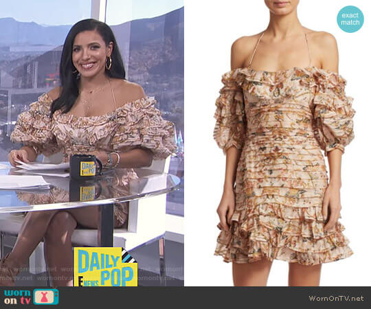 Painted Heart Folds Ruffle Dress by Zimmermann worn by Julissa Bermudez  on E! News