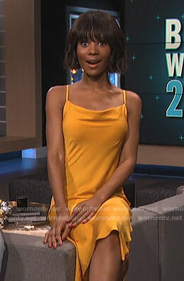 Zuri's yellow satin slit dress on E! News
