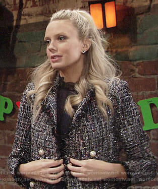 Abby's metallic tweed jacket on The Young and the Restless