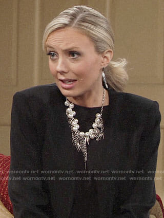 Abby's pearl necklace and embroidered boots on The Young and the Restless