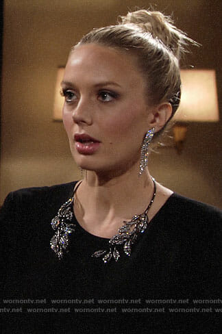 Abby's black feather trim dress and leaf collar necklace on The Young and the Restless