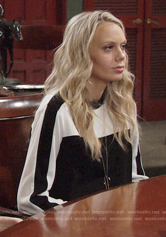 Abby's black and white colorblock dress on The Young and the Restless