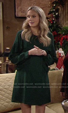 Abby's green ruffled Christmas dress on The Young and the Restless