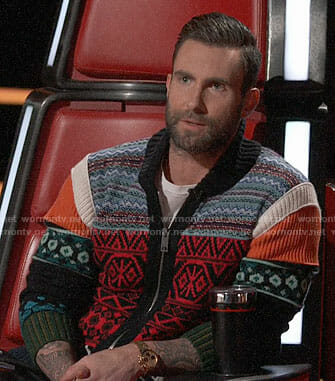 Adam Levine's mixed print zip cardigan on The Voice