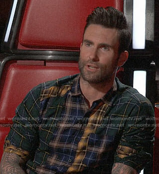 Adam Levine's patchwork plaid shirt on The Voice